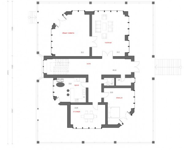 Типовой проект коттеджа ТК-457 (19,7 x 23,6 м)