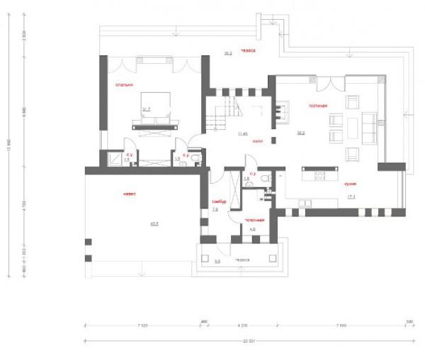 Типовой проект коттеджа ТК-188 (18,7x12,6 м)