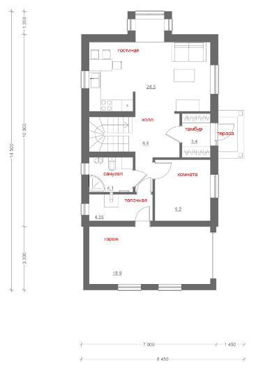 Типовой проект коттеджа ТК-123 (6,9x14, 5 м)