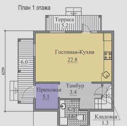 Типовой проект коттеджа ТК-84-2 (6,25x6,25 м)