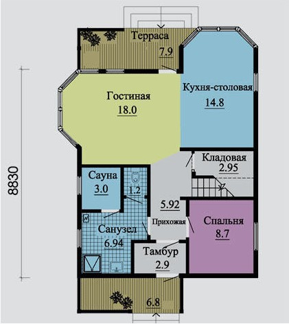 Типовой проект коттеджа ТК-135 (8,83x7,74 м)