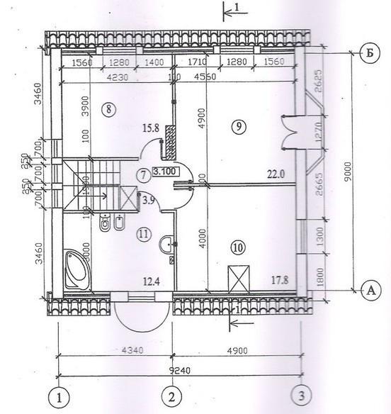 Типовой проект коттеджа ТК-150-2 (9,80x9,20 м)