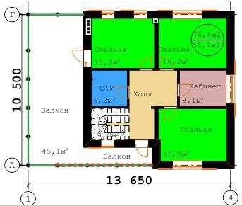Типовой проект коттеджа ТК-171 (10,50x13,65 м)