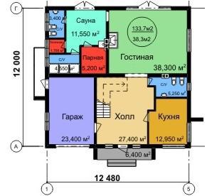 Типовой проект коттеджа ТК-258 (12x12,48 м)