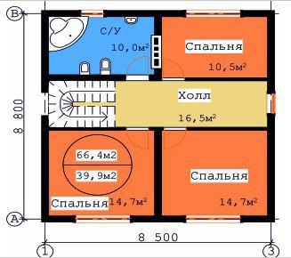 Типовой проект коттеджа ТК-133 (8,8x8,5 м)