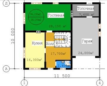 Типовой проект коттеджа ТК-157 (10x11,5 м)