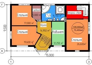 Типовой проект коттеджа ТК-316 (9,50x15,00 м)