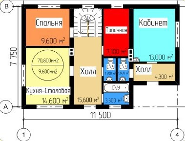 Типовой проект коттеджа ТК-122 (7,75x11,50 м)
