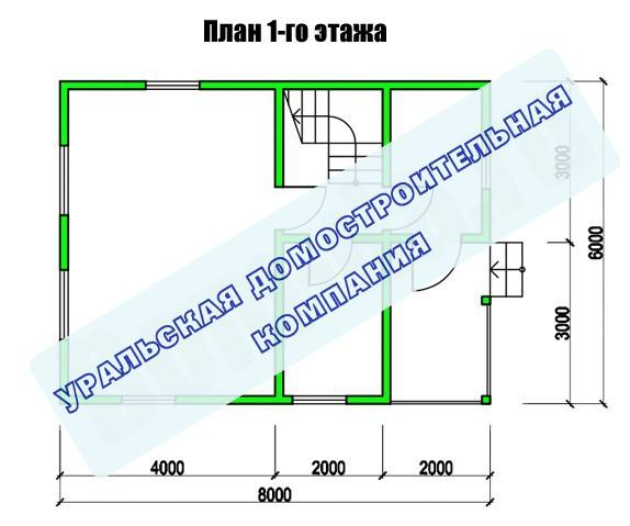 Типовой проект коттеджа ТК-87-2 (7,5x6,0 м)