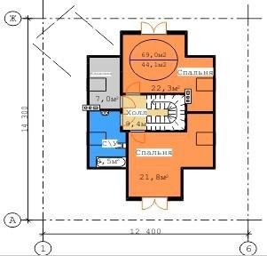 Типовой проект коттеджа ТК-198 (14,3x12,4 м)
