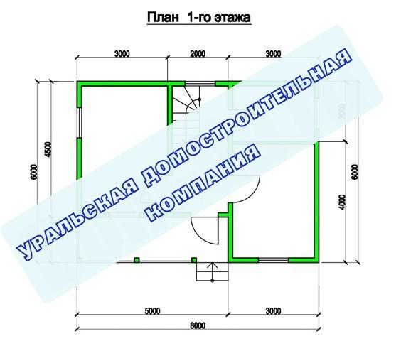 Типовой проект коттеджа ТК-87 (8,0x6,0 м)