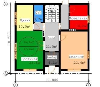 Типовой проект коттеджа ТК-195 (11,00x10,50 м)