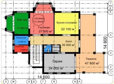 Типовой проект коттеджа ТК-264 (14,5x14,8 м)