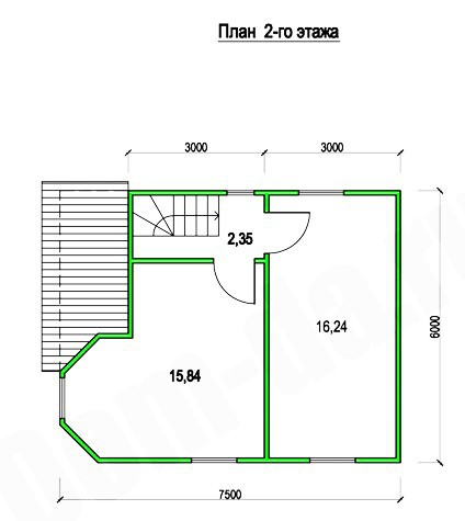Типовой проект коттеджа ТК-87-2 (7,5x6 м)