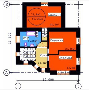 Типовой проект коттеджа ТК-148 (11,50x10,00 м)