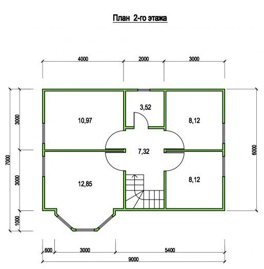 Типовой проект коттеджа ТК-87-3 (6,0x9,0 м)