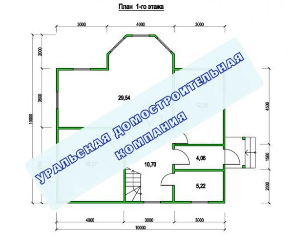 Типовой проект коттеджа ТК-147 (10,0x10,0 м)