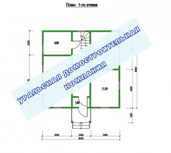 Типовой проект коттеджа ТК-114 (8,0x8,0 м)