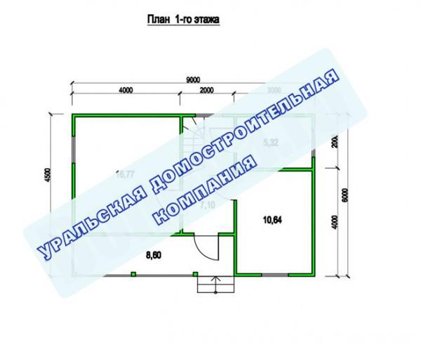 Типовой проект коттеджа ТК-96 (9,0x6,0 м)