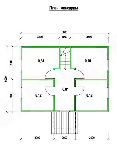 Типовой проект коттеджа ТК-84 (6,0x8,0 м)