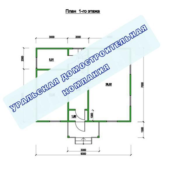 Типовой проект коттеджа ТК-110-3 (7,0x9,0 м)