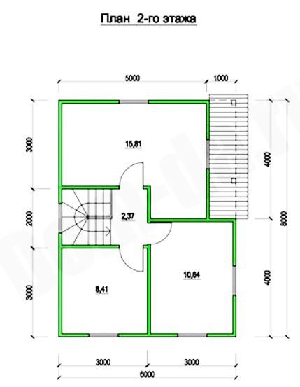 Типовой проект коттеджа ТК-88 (8x6 м)