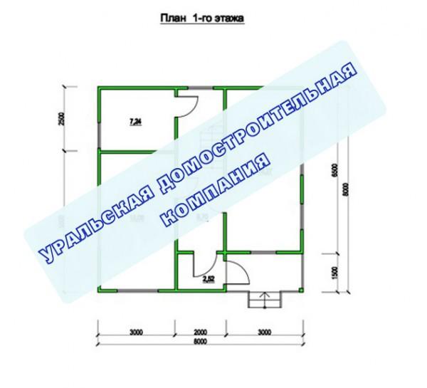 Типовой проект коттеджа ТК-116 (8,0x8,0 м)