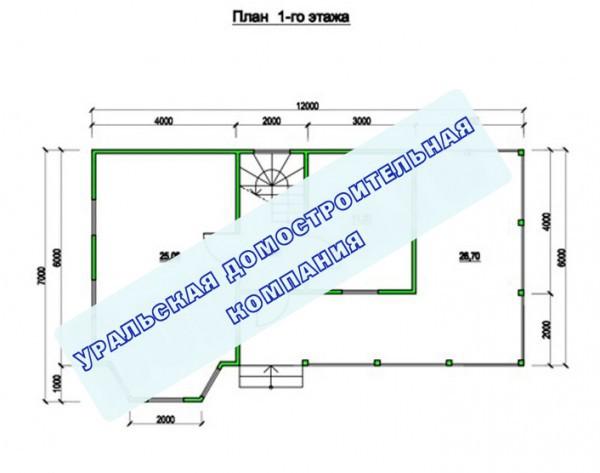 Типовой проект коттеджа ТК-101 (7x12 м)