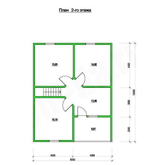 Типовой проект коттеджа ТК-160-2 (8,0x10,0 м)
