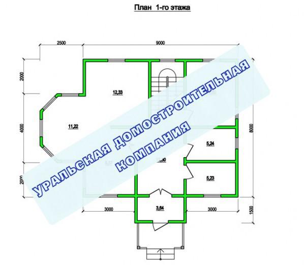 Типовой проект коттеджа ТК-160 (9x11,5 м)