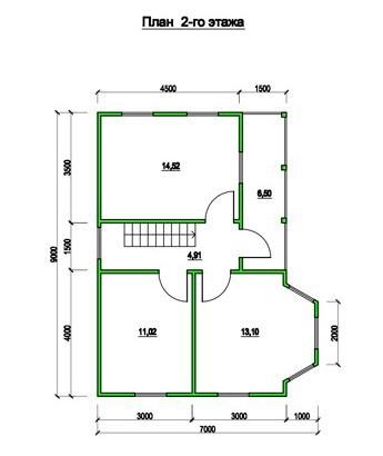 Типовой проект коттеджа ТК-130 (7,0x9,0 м)