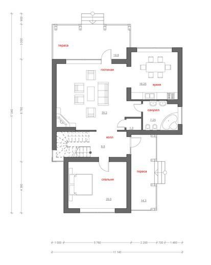 Типовой проект коттеджа ТК-186 (14,1x11,1 м)