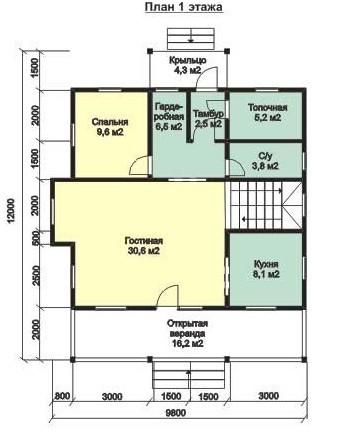 Дом из бруса ДБ-156 (9,8x12 м)