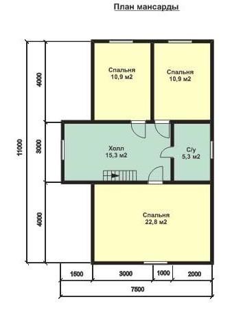 Дом из бруса ДБ-131 (7,5x11 м)