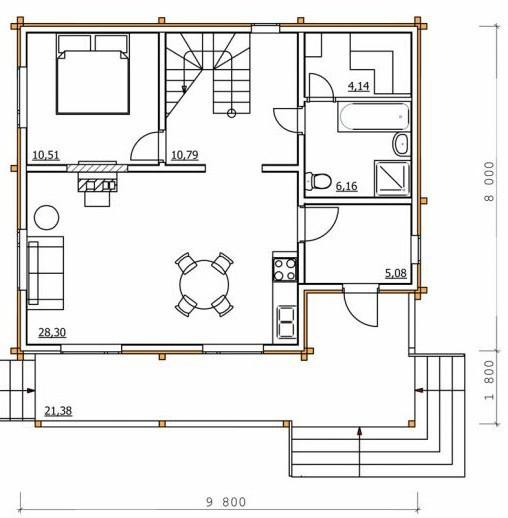 Дом из бруса ДБ-161 (9,8x9,8 м)