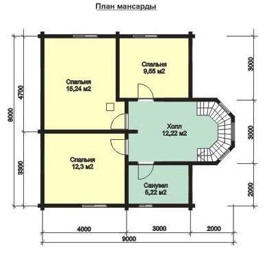 Дом из бруса ДБ-109 (9x8 м)