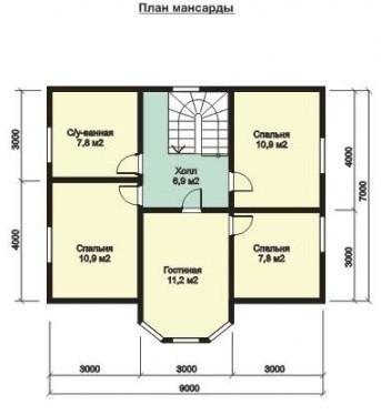 Дом из бруса ДБ-124 (11x9 м)