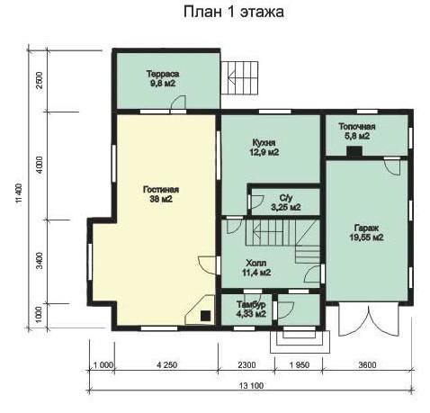 Дом из бруса ДБ-167 (11,40x13,10 м)