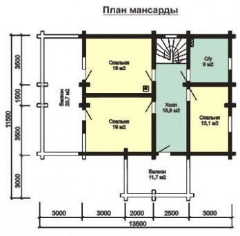 Дом из бруса ДБ-190-2 (11,50x13,50 м)Акция при заказе до 15 марта 2018 г. Джутовое полотно и нагеля в ПОДАРОК.