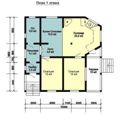 Дом из бруса ДБ-145 (10x9 м)