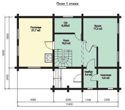 Дом из бруса ДБ-134 (11,40x8,20 м)
