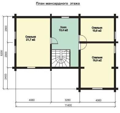 Дом из бруса ДБ-134 (11,4x8,2 м)