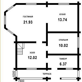 Дом из бруса ДБ-146 (8,2x7,8 м)