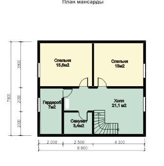Дом из строганного бруса ДБ-133 (13x8 м)