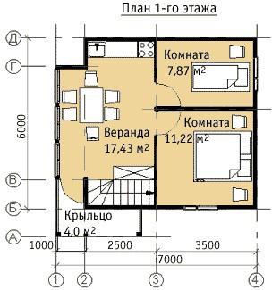 Дом из бруса ДБ-57 (6x7 м)