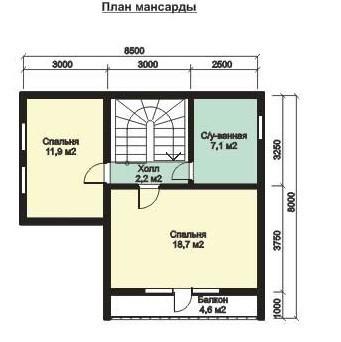 Дом из бруса ДБ-105-2 (11,50x7,00 м)