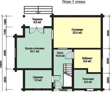 Дом из бруса ДБ-157 (10,5x11,0 м)