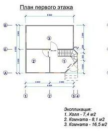 Дом из бруса ДБ-66 (6x6 м)