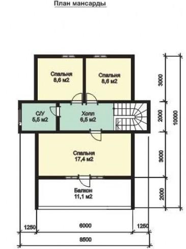 Дом из оцилиндрованного бревна ОБ-135 (10x8,5 м)