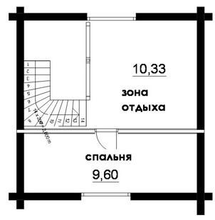 Дом из оцилиндрованного бревна ОБ-59 (8x6 м)
